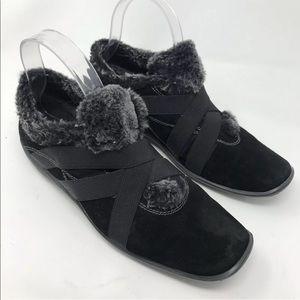 Stuart Weitzman Black Fleece Booties Ankle Boots